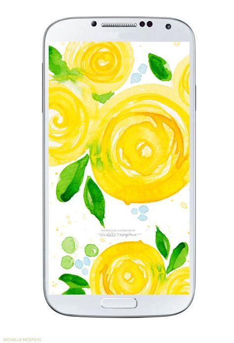 Polish your personal project or design with these watercolor flowers transparent png images, make it even more personalized and more attractive. Yellow watercolor flower cell phone wallpaper download by artist Michelle Mospens - www ...