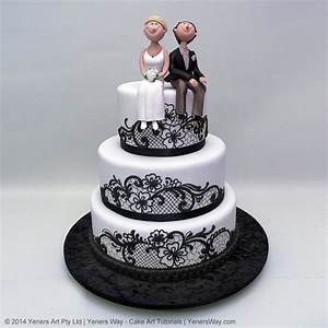 Black Lace and Funny Couple Wedding Cake - Yeners Way