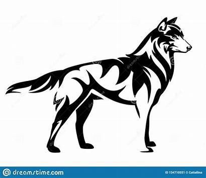 Wolf Outline Standing Wolfs Side Bevindende Zwarte