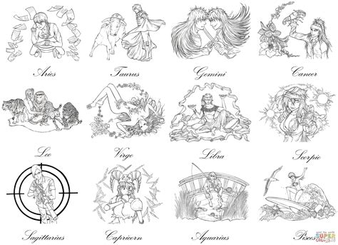 zodiac signs coloring pages collection coloring sheets