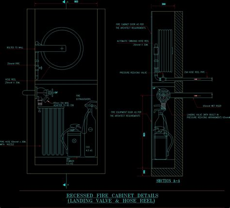 recessed fire cabinet dwg detail  autocad designscad