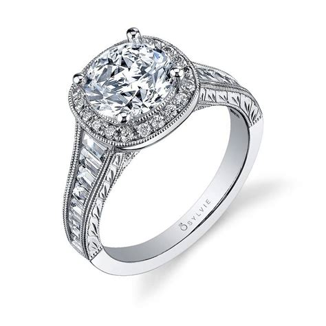 vintage inspired halo baguette engagement ring s1056 sylvie