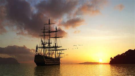 Download Wallpaper 1920x1080 sun, rising, morning, ship ...