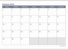 Calendario octubre 2018 para imprimir iCalendarionet
