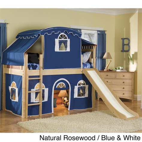 boys tented bed with slide bedroom beds