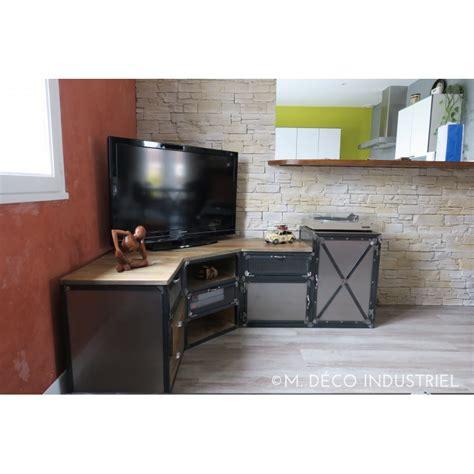 meuble de cuisines meuble tv d 39 angle industriel en acier et pin massif m