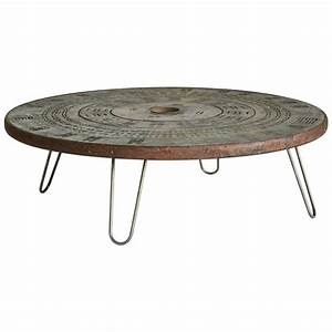 1960s round metal coffee table with hairpin legs for sale With round coffee table with metal legs