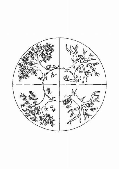 Seasons Coloring Pages Children Simple
