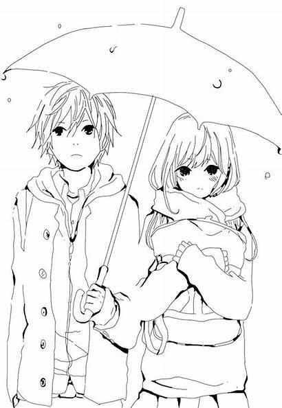 Anime Coloring Pages Sad Fresh Printable Couple