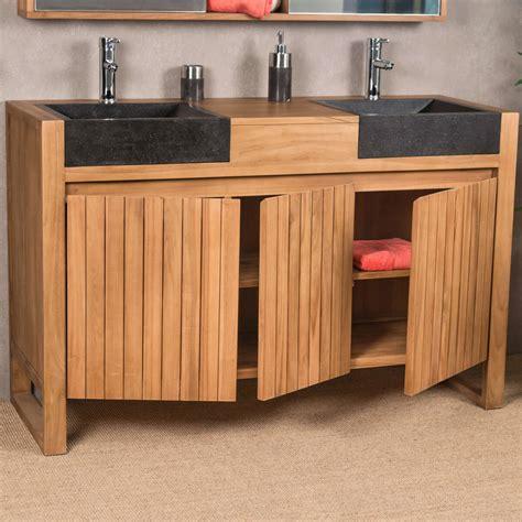 salle de bain teck meuble sous vasque vasque en bois teck massif 2 vasque en terrazzo luxe naturel