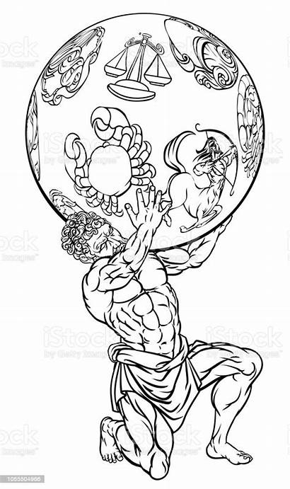 Atlas Greek Mythology Illustration Vector God Titan