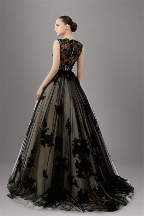 stunning lace overlay tulle a line black wedding dress