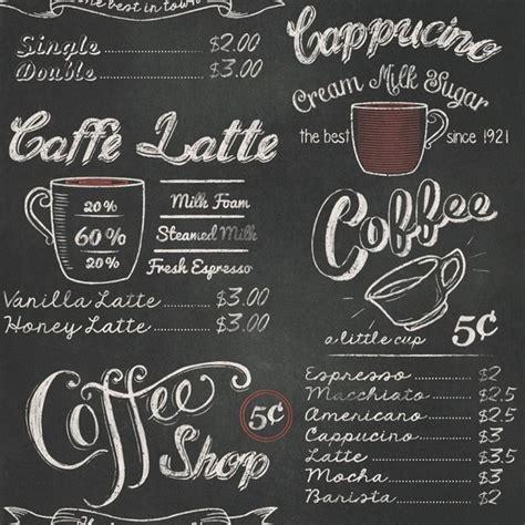 Coffee Shop Print Wallpaper Retro Vintage Black White