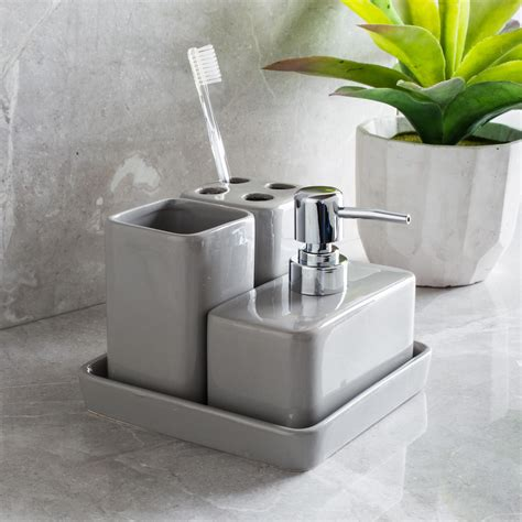 harman elements bath accessories grey set