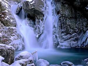 beautiful waterfall winter snow rock picture with