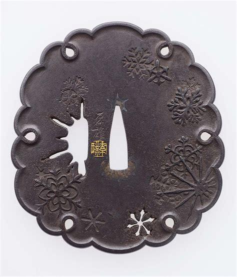 tsuba  design  snowflake motifs museum  fine
