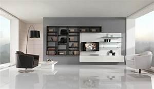 un salon en gris et blanc c39est chic voila 82 photos qui With couleur moderne pour salon 18 personnalisez votre salon avec le meuble tv industriel