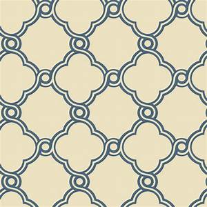 Blue with Beige Open Trellis Wallpaper