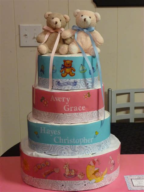 diaper cake   twins diapers wrapped  tissue