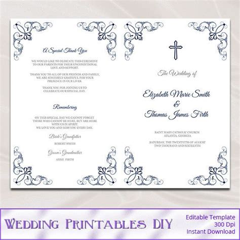 wedding program template booklet catholic wedding program template diy navy blue order of ceremony booklet printable programs