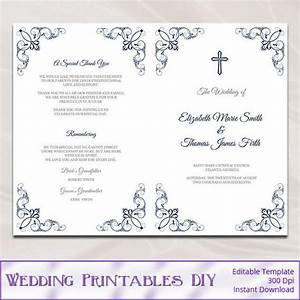 catholic wedding program template diy navy blue order of With catholic church wedding booklet template