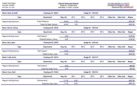 payroll summary report template samples  paystubs