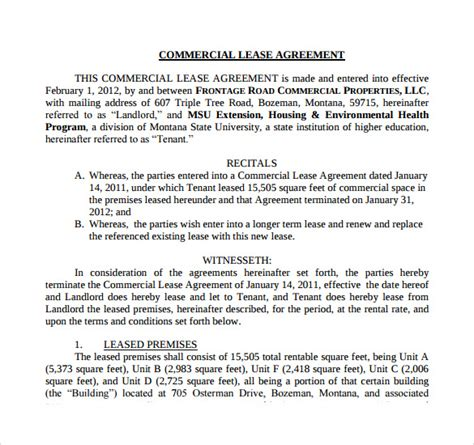 sample net lease agreement templates sample templates