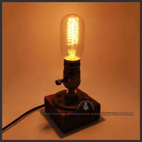 edison bulb table l retro coffee shop table l wood vintage desk l