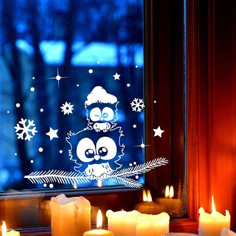 Fensterdeko Weihnachten Zweige by Fensterbild Eule Eulchen Auf Zweig Fensterdeko