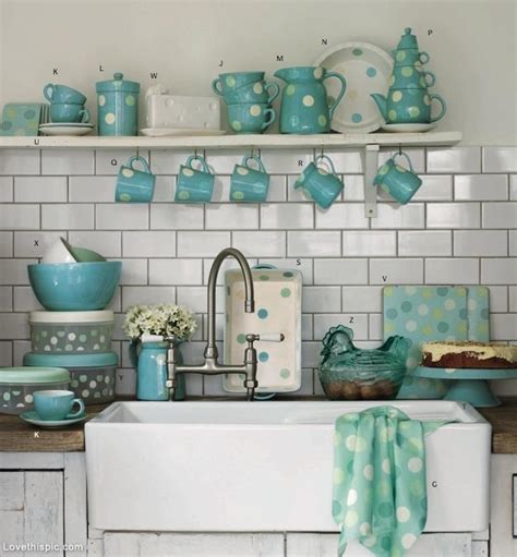 Turquoise Polka Dot Kitchen Accessories Pictures, Photos
