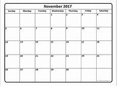 Blank November 2017 Calendar weekly calendar template