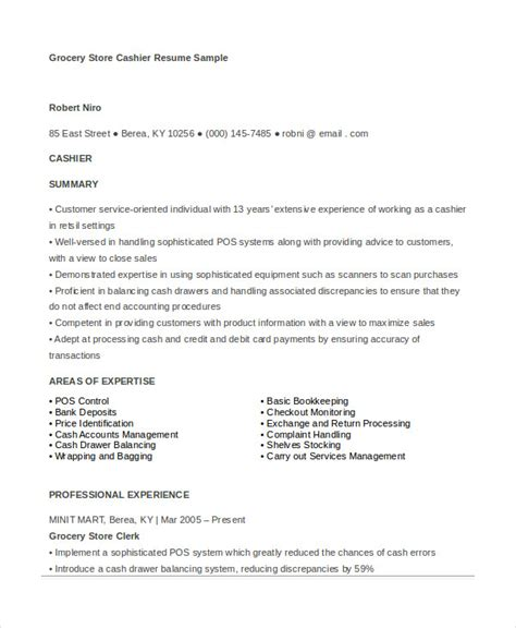 Grocery Store Cashier Duties On Resume by Cashier Resume Exle 6 Free Word Pdf Documents