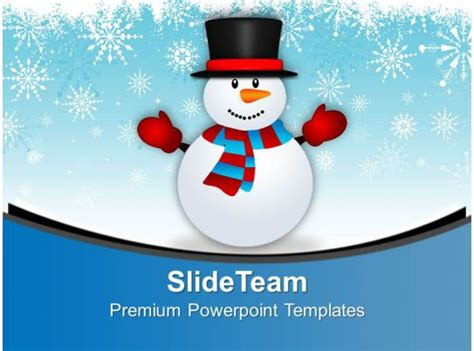 cute snowman  snowy background powerpoint templates