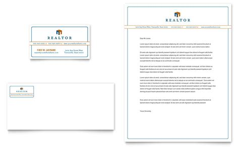 real estate agent business card letterhead template