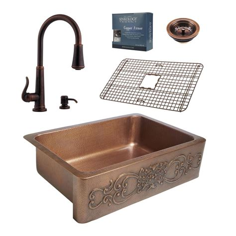 bronze sinks kitchen sinkology pfister all in one ganku copper farmhouse 33 in 1822