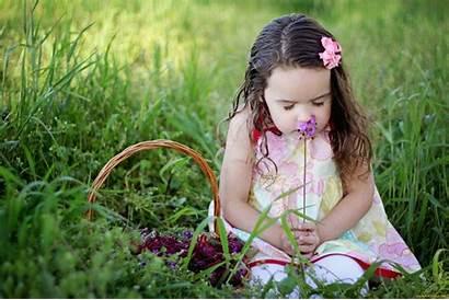 Smelling Flowers Child Wallpapers Background Backgrounds Desktop