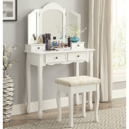 makeup vanity set walmart roundhill furniture sanlo white wooden vanity make up