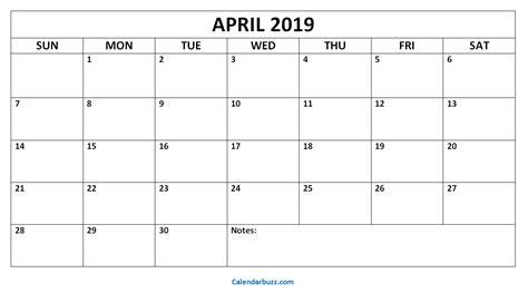 april printable calendar templates calendarbuzz