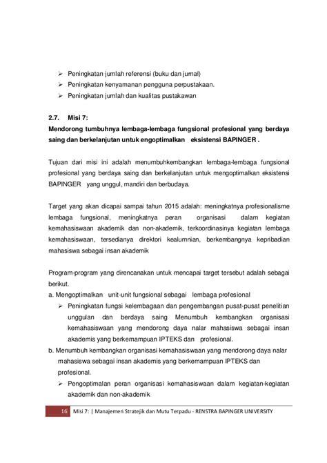 Manajemen Stratejik dan Manajemen Mutu Terpadu Bapinger