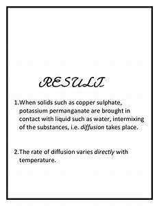 Study Of Diffusion Of Solids In Liquids