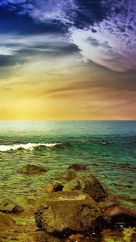Find your perfect nature wallpaper for your phone, desktop, website and more! Stormy Sea Rocks Sunset Android Wallpaper free download