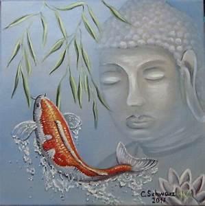 Buddha Bilder Gemalt : acrylmalerei buddha und koi kunst bild seerosen gemalt fisch ein designerst ck von ~ Markanthonyermac.com Haus und Dekorationen