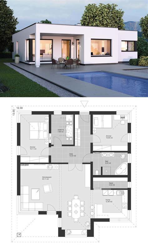 Moderne Häuser Architektur Grundriss by Moderner Bungalow Im Bauhaus Design Mit Flachdach