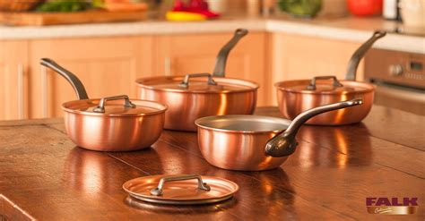falk classical range saucier set copper ware