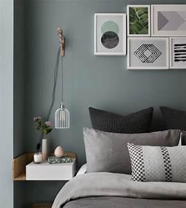 Salon Vert De Gris : d co salon id e quelle couleur avec le gris mur vert de ~ Melissatoandfro.com Idées de Décoration