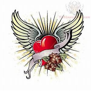 Old School Winged Heart Tattoo Design