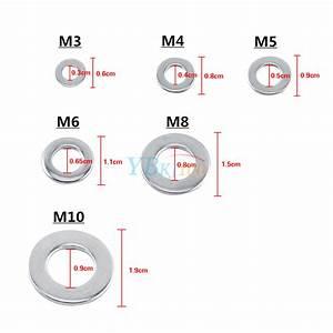 100pc M3  M4  M5  M6  M8  M10 Stainless Steel Metric Flat