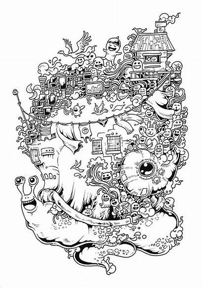 Doodle Coloring Invasion Template Templates Designs Doodles