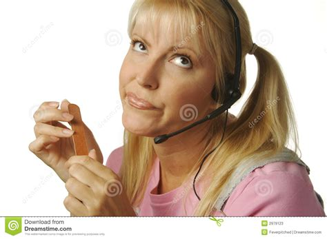 Bored Customer Support Girl Stock Photos