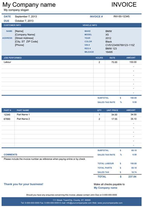 vehicle repair invoice template  invoice template